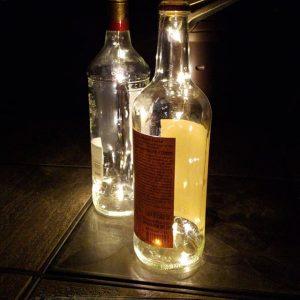 Bottles with lights inside